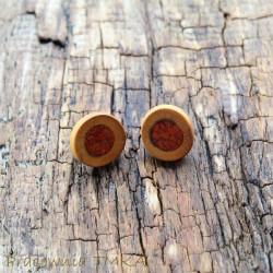 Kolczyki z drewna śliwy z czerwonym jaspisem