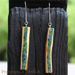 Kolczyki z drewna śliwy z malachitem i azurytem
