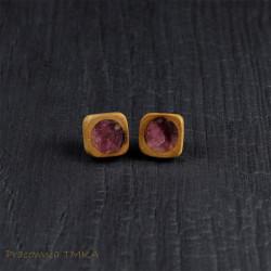 Kolczyki z drewna śliwy z różowym turmalinem