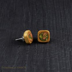Kolczyki z drewna śliwy z unakitem