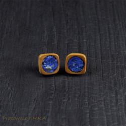 Kolczyki z drewna śliwy z lapis lazuli