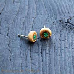 Kolczyki z drewna orzecha włoskiego z malachitem