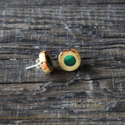 Kolczyki z drewna gruszy z malachitem